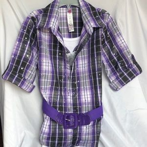 Knitworks girl purple blouse with dog shirt